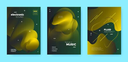 Gradient Flow Shapes. Night Party Template. Green Music Brochure. Dj Poster. Gold 3d Futuristic Design. Abstract Flow Shapes. Disco Club Party Flyer. Music Background. Luxury Gradient Flow Shapes. Standard-Bild - 137399839