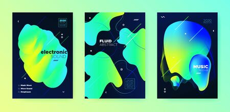 Electronic Music Festival. Dj Sound. Neon Futuristic Design. Vibrant Abstract Lines. Music Background. Modern Dj Party. Gradient Design. Yellow 3d Fluid Pattern. Electronic Music Invitation.