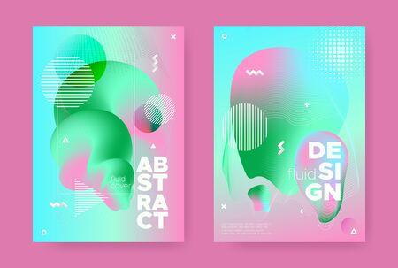 Graphic Memphis Geometric Background. Contemporary Effect. Pink Wave Gradient Shape. Hipster Pastel Wavy Brochure. Abstract Geometric Background. Gradient Liquid Shape. Abstract Geometric Elements. Standard-Bild - 137399615