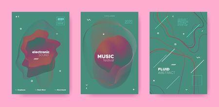 Abstract Fluid Poster. Music Flyer. House Dj Sound. Electronic Dance Event. Green Abstract Fluid Concept. Red Music Party. Trance Dj Sound. Electronic Dance Festival. Red Abstract Fluid Design. Standard-Bild - 137468790