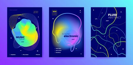Purple Music Party. Futuristic Layout. Trance Concert. Colorful 3d Fluid Invitation. Blue Music Poster. Gradient Pattern. Club Festival. Vivid 3d Fluid Movement. Trendy Music Banner. Ilustrace