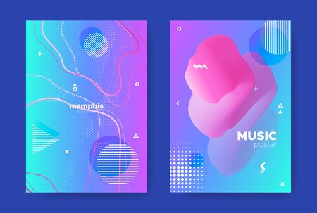 Pink Music Poster. Nightclub Party Brochure. Graphic Memphis Pattern. Blue Liquid Cover. Hipster Music Flyers. Nightclub Party Background. Gradient Design. Bright Liquid Shape. Music Banner. Standard-Bild - 137671994