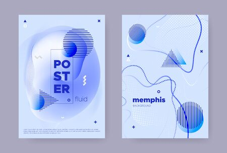 Blue Abstract Memphis Gradient. Summer Flow Poster. Wave Pattern. Graphic Geometric Template. Abstract Memphis Background. Vector Flow Design. Trendy Liquid Pattern. Hipster Memphis Background. Standard-Bild - 137672822