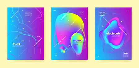 Pink House Music Poster. Wave Gradient Shapes. Disco 3d Banner. Dj Concert. Blue Dance Music Poster. Purple Abstract Gradient Blend. Disco Club Festival. Dj Invitation. Electro Music Poster. Standard-Bild - 137672329