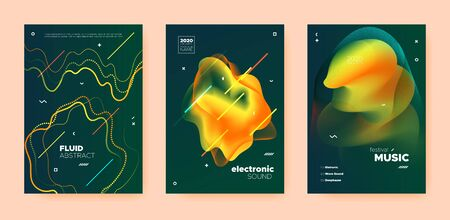 Electro Music Poster. Wave Gradient Blend. Night Club Flyer. Dj Invitation. Yellow Dance Music Poster. Gold Abstract Gradient Blend. Night Club Event. Dj Concert. Techno Music Poster. Standard-Bild - 137672279