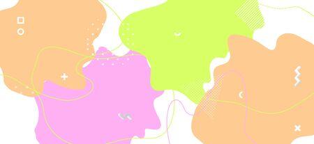 Pastel Geometric Illustration. Graphic Fluid Design. Fashion Memphis Ornament. Colorful Funny Texture. Geometric Background. Trendy Wave Poster. Abstract Ornament. Multicolor Geometric Composition. Standard-Bild - 137672682