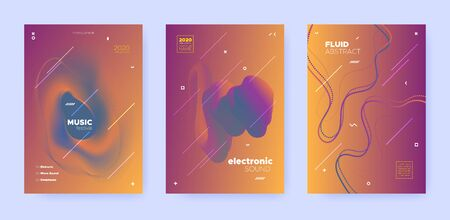 Gradient Flow Shapes. Disco Party Template. Red Music Invitation. Dj Poster. Blue 3d Futuristic Banner. Abstract Flow Shapes. Disco Club Party Flyer. Music Brochure. Techno Festival Layout.