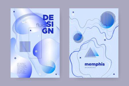 Blue Abstract Memphis Brochure. Summer Flow Shape. Liquid Pattern. Vector Business Template. Abstract Memphis Gradient. Trendy Flow Design. Graphic Liquid Banner. Hipster Memphis Brochure. Standard-Bild - 137751514