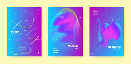 Pink Electro Music Poster. Wave Gradient Blend. Disco Club Flyer. Dj Invitation. Neon Techno Music Poster. Blue Abstract Gradient Shape. Night Club Event. Dj Sound. House Music Poster. Standard-Bild - 137753342