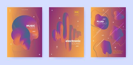 Gradient Flow Shapes. Disco Party Template. Red Music Invitation. Dj Sound. Orange 3d Movement Design. Abstract Flow Shapes. Night Party Template. Music Background. House Festival Cover. Standard-Bild - 137751545