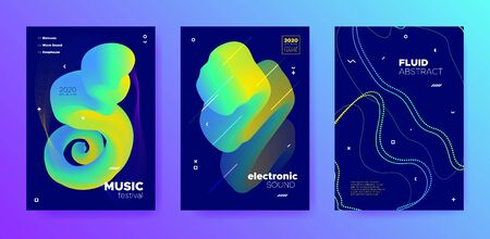 Modern Music Poster. Gradient Lines. Trance Festival. Trendy 3d Flow Movement. Vivid Music Banner. Gradient Sound. Trance Concert. Blue 3d Fluid Background. Multicolor Music Party.