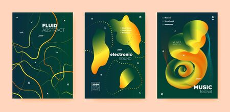 Dance Music Poster. Abstract Gradient Blend. Disco Club Event. Dj Party. Yellow Trance Music Poster. Orange Wave Gradient Blend. Disco 3d Banner. Dj Sound. Techno Music Poster.