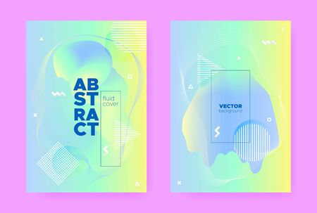 Blue Pastel Poster. Abstract Gradient Elements. Fresh Wave Design. Hologram Placard. Pastel Shape. Green Abstract Memphis Illustration. Yellow Wave Banner. Hologram Brochure. Pastel Cover.