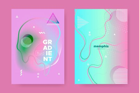 Modern Memphis Geometric Background. Contemporary Design. Pink Gradient Liquid Shape. Vector Pastel Wave Posters. Abstract Geometric Elements. Fluid Gradient Shapes. Memphis Geometric Elements.  イラスト・ベクター素材