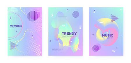 Rainbow Pastel Fluid. Abstract Memphis Elements. Liquid Banner. Hologram Brochure. Pink Pastel Poster. Blue Abstract Gradient Elements. Unicorn Wave Design. Colorful Placard. Pastel Flow.