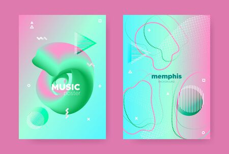 Trendy Abstract Geometric Elements. 70s or 80s Design. Pink Fluid Gradient Shapes. Vector 3d Dynamic Covers. Memphis Geometric Background. Gradient Liquid Shape. Memphis Geometric Elements. Иллюстрация