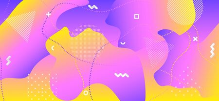 Pink Liquid Concept. Fashion Digital Decoration. Abstract Vector Booklet. Yellow Wave Shape. Creative Liquid Design. Colorful Geometric Illustration. Abstract Graphic Journal. Liquid Motion.