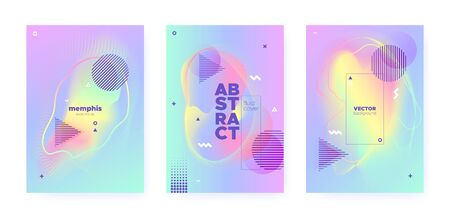 Rainbow Pastel Poster. Abstract Gradient Illustration. Liquid Design. Hologram Brochure. Blue Pastel Cover. Unicorn Abstract Memphis Illustration. Magic Wave Banner. Colorful Pattern. Pastel Shape. Ilustração