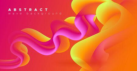Fluid Liquid Art. Orange 3d Pattern. Dynamic Wallpaper. Color Music Flyer. Geometric Motion. Bright Liquid Art. Neon Abstract Shape. Digital Creative Liquid Art. Wave Vibrant Template. 일러스트