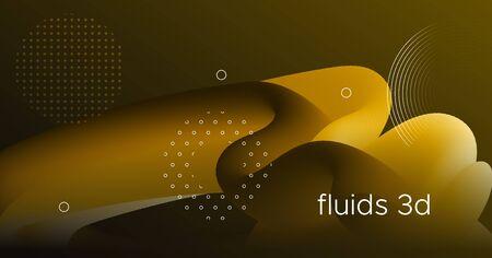 Fluid Poster Cover. Gold Digital Flyer. Color Futuristic Wallpaper. Neon Vibrant Movement. Wave Fluid Poster Cover. Graphic Concept. Vector Bright Geometric Design. 3d Fluid Poster Cover. Vettoriali