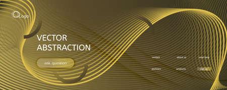 Abstract Vector Curve. Gold Geometric Wallpaper. 3d Flow Shape. Minimal Poster. Golden Abstract Vector Curve. Color Vibrant Concept. Fluid Website. Dynamic Abstract Vector Curve.