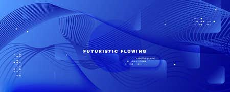 Blue Futuristic Abstract. Business Stripes. 3d Geometric Wallpaper. Memphis Curve Pattern. Digital Futuristic Abstract. Fluid Lines Magazine. 3d Flow Poster. Blue Futuristic Abstract.