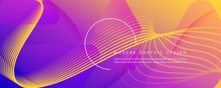 Fluid Abstract. Flow Movement. 3d Line Banner. Color Dynamic Wallpaper. Colorful Business Website. Graphic Gradient Layout. Vector Fluid Abstract. Minimal Flow Futuristic Poster.