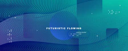 Blue Dynamic Wave. Flow 3d Flyer. Vector Futuristic Line. Dynamic Wave. Vibrant Banner. Fluid Stripes. Abstract Wallpaper. Gradient Movement. Dark Technology Illustration. Dynamic Wave.