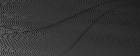 Black Digital Background. Flow 3d Stripes. Curve 矢量图像