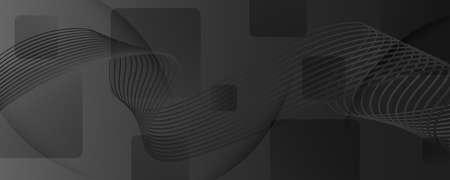 Gray Digital Background. Fluid 3d Stripes. Vector