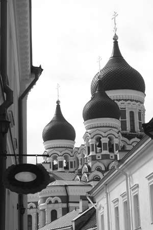citytrip: View at Russian Orthodox church in Tallinn in black and white
