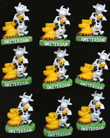 citytrip: Cows and cheese as souvenirs from Amsterdam Stock Photo