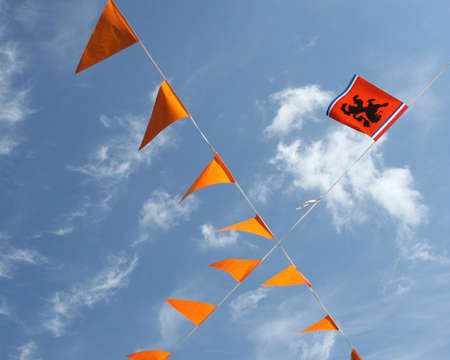 Dutch orange flags for the European Championship Football Stock Photo