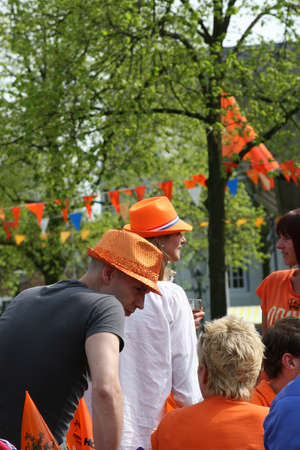 Dutch soccer fans with orange hats