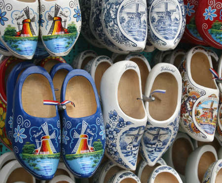 Wooden hand painted shoes in Amsterdam