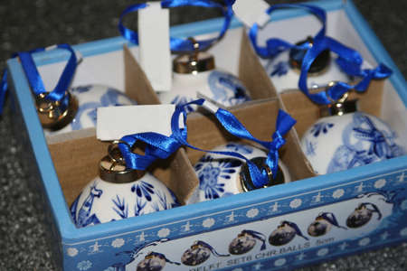 made in netherlands: Hand painted porcelain Delft blue christmas baubles