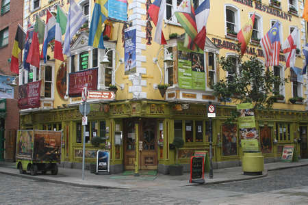 Colorful building with flags in cope street in Temple Bar District in Dublin (Ireland) Editorial