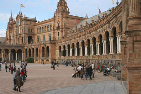 Visitors and tourists at Plaza Espana in Seville (Spain)