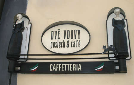 Cafeteria Dve Vdovy in the old centre of Cesky Krumlov (Czech Republic)