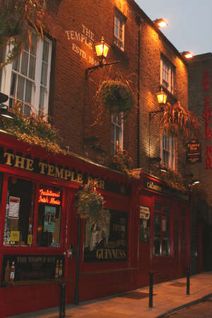 Pub in Temple Bar district at night (Dublin Ireland) Editorial