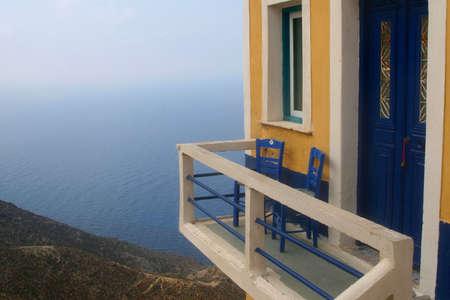 Balcony above the sea in the village Olympos (island KarpathosGreece)
