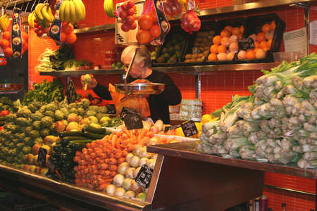 boqueria: Stall at market La Boqueria in Barcelona (Spain)