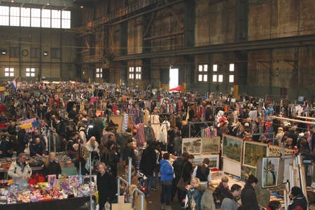 flea market: Flea market in an old abandoned factory (IJhallen) in Amsterdam