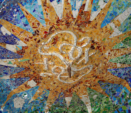 Mosaic from Antoni Gaudi in Parc Guell  Barcelona