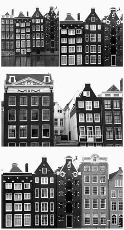 Collage of medieval Amsterdam canal houses in black and white