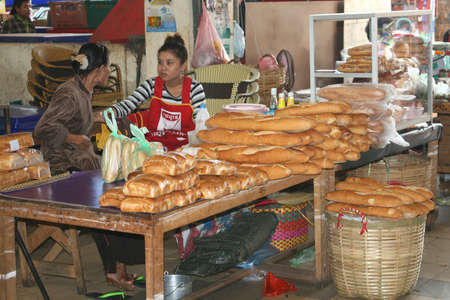 French baguettes for sale at the market in Vientiane