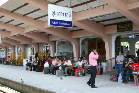 People at the railway station in Ubon Ratchathani in Thailand