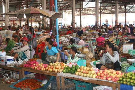 Women at the morning market in Pakse in Laos