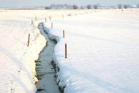 polder: A ditch in a snowy polder in Holland