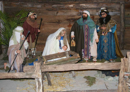 Christmas crib with Jesus and Virgin Mary